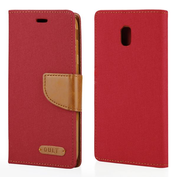 "Klapp Etui ""Fancy"" Canvas für Samsung Galaxy J3 (2017), rot"